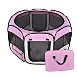 New Large Pink Pet Dog Cat Tent Playpen Exercise Play Pen Soft Crate T08 For Sale