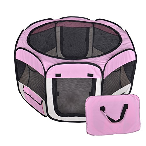 New Large Pink Pet Dog Cat Tent Playpen Exercise Play Pen Soft Crate T08 Review