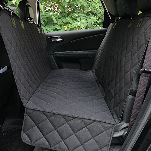 HCMAX Luxury Dog Car Seat Cover Pets Hammock Convertible Cover 600D Heavy Duty Waterproof Backseat Covers with Side Flaps for Car SUV Truck Black
