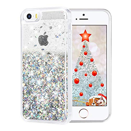 Maxdara Case for iPhone SE/iPhone 5S/iPhone 5 Glitter Case Liquid Floating Bling Sparkle Luxury Children Girls Gifts Pretty Fashion Creative Design Case for iPhone 5/5S/SE (Silver)