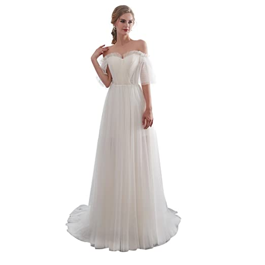 a009d94587b5 Trendership Women s Elegant Half Sleeve Beach Wedding Dresses Lace Off The Shoulder  Simple Bridal Gowns (