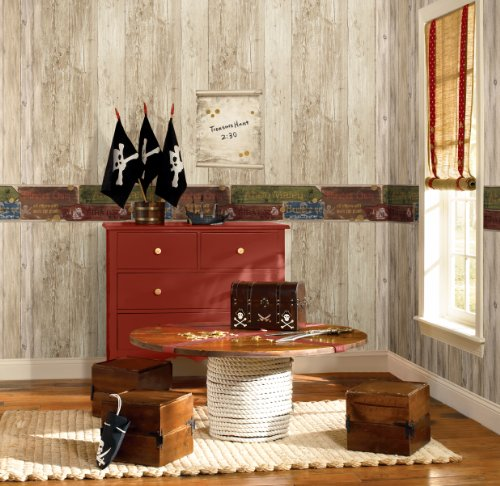 Wall In A Box WIB1008 Pirate Wallpaper, Ash, Pine, Oak, Sand, Beige, Brown, Aged