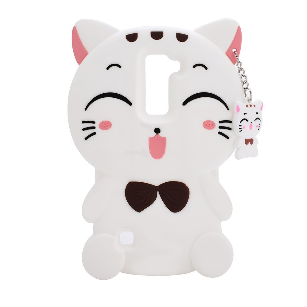 LG Stylo 3 Plus Case LG Stylo 3 Plus Silicone Case,Bat King Cute Cartoon 3D White Lucky Fortune Cat Kitty with Cute Bow Tie Silicone Rubber Phone Case Cover for LG Stylo 3 Plus