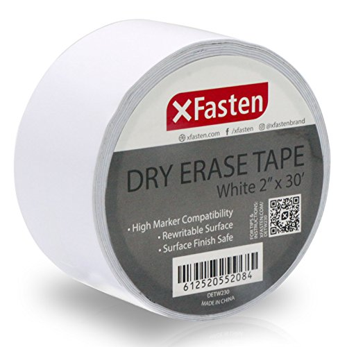 (XFasten Whiteboard Dry Erase Tape, 2-Inch x 30-Foot, White, Smudge Free and Does Not Rub Off Unnecessarily White Marker Board Tape)