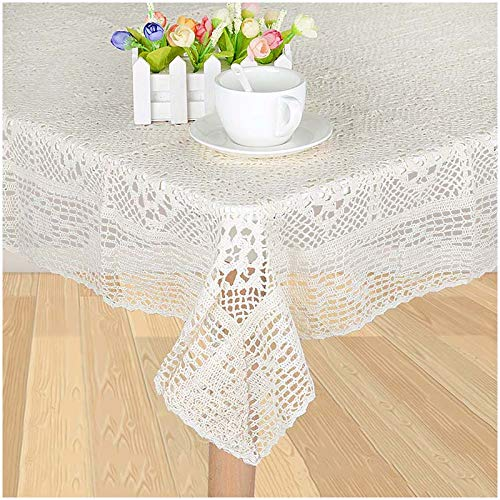 VU100 Lace Tablecloth Square 34 Inch Vintage, Crocheted Cotton Machine Washable Shabby Chic,for Dinning Coffee Tables (Ivory)