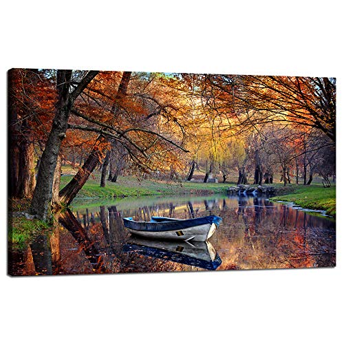 Landscape Painting On Canvas Fabric Modern Large Wall Art Boat Surrounding a Lake Contemporary Giclee Framed Autumn Fall Time Sadness Season Artwork Picture Print to Photo Decor Home(48''Wx28''H)