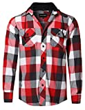 Style by William Flannel Woven Long Sleeves Detachable Hood Button Down Shirt White Red M