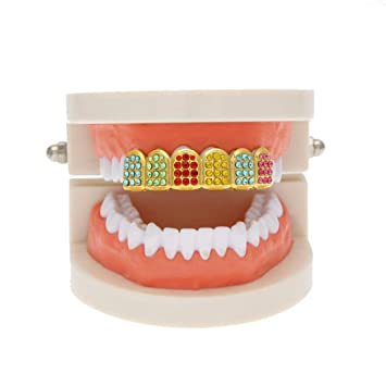 Amazon.com   24K Plated Gold Grillz for Teeth Mouth Top Hip Hop Teeth Grills  Teeth Cap with Diamond   Beauty d9ee9ae2883e