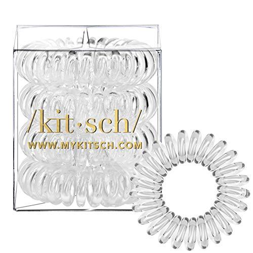 Kitsch Spiral Hair Ties, Coil Hair Ties, Phone Cord Hair Ties, Hair Coils - 4pcs, Transparent (Cord Hair Dryer Coiled)