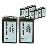 ANSMANN 9V Rechargeable Batteries 300mAh pre-charged Low Self-Discharge (LSD) NiMH 9 Volt Battery 9V Battery (10-Pack)