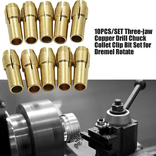 HoganeyVan 10 PCS//SET Trois M/âchoires Cuivre Foret Mandrin Collet Clip Bit Set pour Dremel Rotation Outil Accessoires De Broyage /Électrique