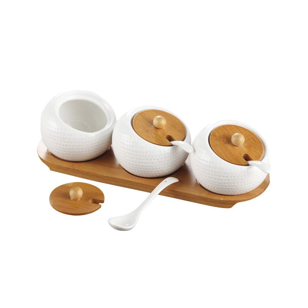 BESTONZON Barattoli ceramica cucina con coperchio in bambù Porta spezie porta caffè