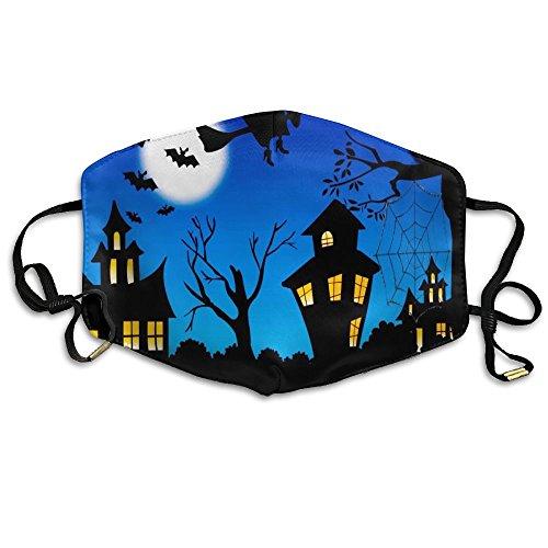 N7bloom Womens Face Mask Anti-Dust Respirator Gift Halloween Night Witch Bat Castle Pumpkin Black Cat On The Tree.jpg -