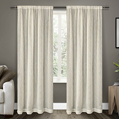Exclusive Home Belgian Textured Linen Look Jacquard Sheer Wi