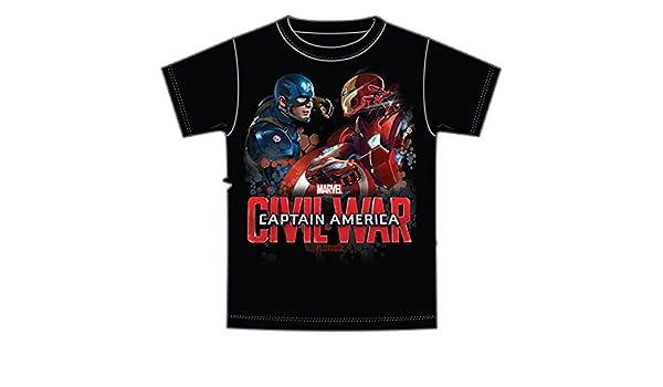 bf3add33c6f48 Amazon.com  Marvel Captain America and Iron Man Adult Mens Tee T Shirt Bio  vs Mech Friendly Fire  Clothing