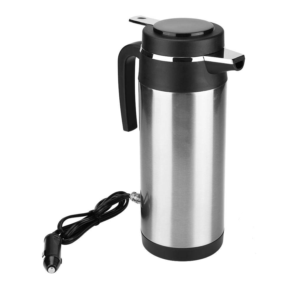 Keenso Car Kettle Boiler 1200ML 12V/24V Stainless Steel Electric In-car Kettle Car Heating Cup Travel Thermoses Heating Water Bottle for Water Tea Coffee Milk(24V)