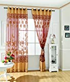 Cheap Ivolador 2PCS Modern Room Floral Tulle Door Window Curtain Drape Panel Sheer Scarf Decor Valances – Coffee