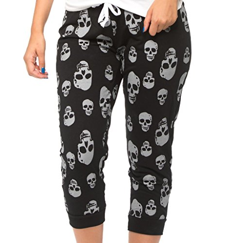 Coco-Limon Women Capri Joggers - French Terry, Skull Print Sweatpants, Black, Large (Skull Sweatpants)
