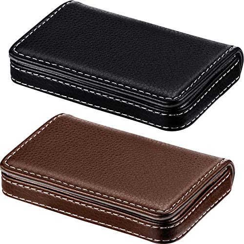 2 Pieces Business Card Holder, Business Card Wallet Leather Business Card Case Pocket Business Name Card Holder with Magnetic Shut, Credit Card ID Case/Wallet (Black and Coffee) (Business Card Wallet Leather)