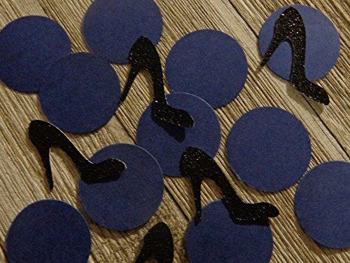 Black Glitter High Heel Shoe Confetti - Navy Blue and Black - Stiletto Confetti - 210 Pieces total