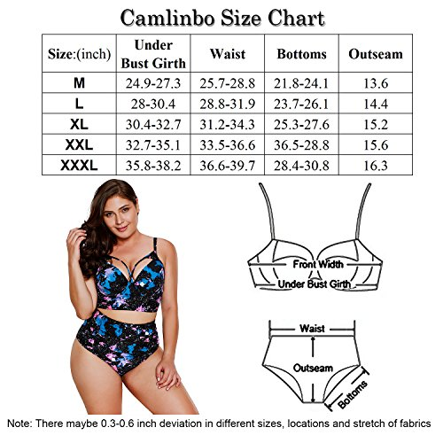 2482dd8684f07 Camlinbo 2018 Women's Plus Size Swimsuit High Waisted Ruffles Push up  Halter Bikini Set - Bikini Online Shop