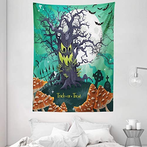 Ambesonne Halloween Tapestry, Trick or Treat Dead Forest with Spooky Tree Graves Big Kids Cartoon Art Print, Wall Hanging for Bedroom Living Room Dorm, 60 X 80 , Multicolor