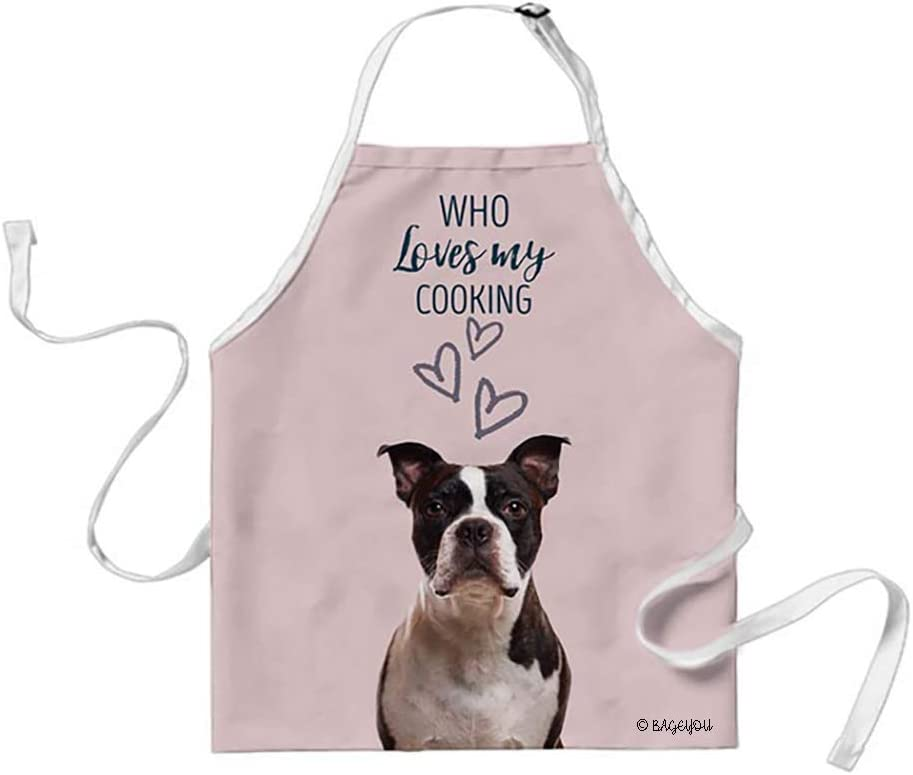 BAGEYOU Boston Terrier Lovely Dog Cat Apron Who Loves My Cooking 29x34 Inch