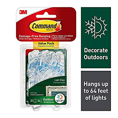 Command Outdoor Light Clips, 32 clips, 36 strips (17017CLRAWVPES)