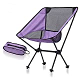 L&J Camping Folding Chairs, Lightweight Portable Outdoor Chair Stable Aluminum Alloy Fishing Chair, Picnic Barbecue Painting Sketch, Load 150kg-B
