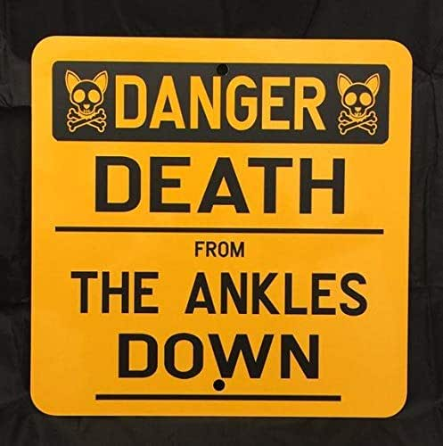 ACOVE Danger Death from The Ankles Down 12x12 inch Metal Sign Funny Dog Caution Dog Sign