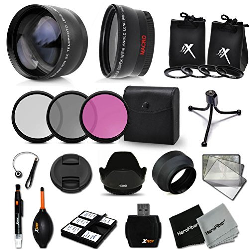 Essential 58mm Accessory Kit for CANON EOS REBEL T5i T4i T3i T2i T1i XTi XT SL1 XSi, EOS 700D 650D 600D 55D DSLR Cameras - Includes: High Definition Wide Angle Lens with Macro Closeup feature, + High Definition 2X Telephoto Lens + 3 Piece HD Filter Set + + Ring Adapters to from 46-62mm + 58mm Tulip shaped Hard Lens Hood + 58mm Soft Rubber Lens Hood + 58mm Lens Cap + Universal Card Reader + Mini Table Tripod + Memory Case Holder + Screen Protectors + Mini Blower + Cleaning Pen + Lens Cap Holder + Deluxe Cleaning Kit + Ultra Fine HeroFiber Cleaning Cloth