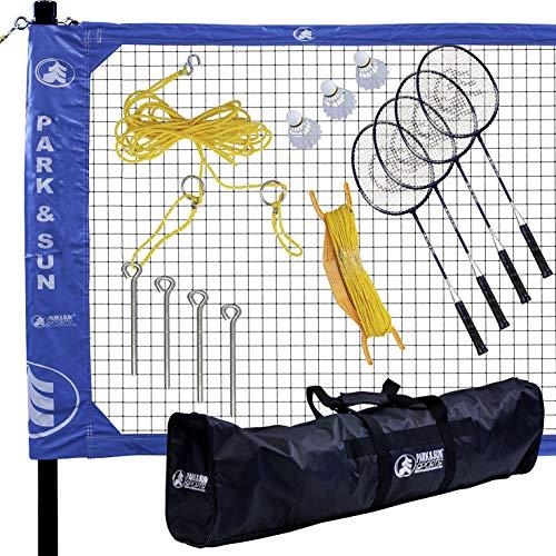 Park & Sun Sports Complete Outdoor Badminton Set with Carry Case, Blue