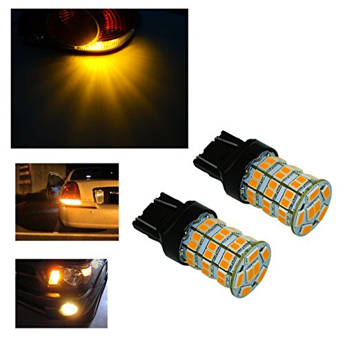 PA 2pcs One Pair LED Bulbs High Power 55SMD 2835 + 5730 Chip LED 900LM Auto Light Bulbs Brake Signal Back up (T20 7443/7440, YELLOW)