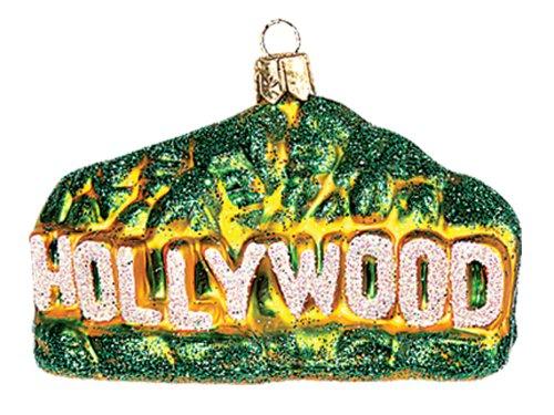 Pinnacle Peak Trading Company Hollywood Sign California Polish Mouth Blown Glass Christmas Ornament Decoration -