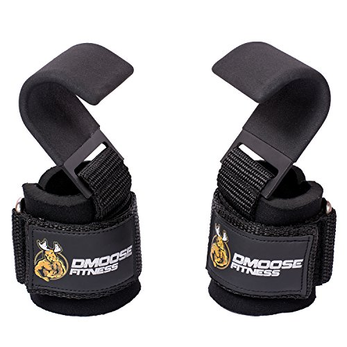 DMoose Fitness Weight Lifting Hooks Grip (Pair) - 8 mm Thick Padded Neoprene, Double Stitching, Non-Slip Resistant Coating – Secure Your Grip and Reach Your Goals with Premium Workout Hook Gloves by DMoose Fitness