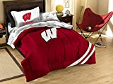 NCAA/NFL Twin Size Applique 5 pc Comforter Set-Many different Teams! (Wisconsin Badgers, Twin Size)