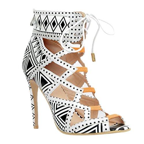Peep Womens Prom Fashion Sandali Party Bianche Scarpe Lace Kolnoo 10cm up Toe Tacchi Handmade Alti pTFzIw