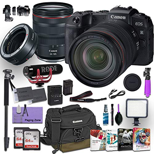 Canon EOS RP Mirrorless Digital Camera with RF 24-105mm f/4L is USM Lens and Canon Mount Adapter EF-EOS R kit Bundled w/Deluxe Accessories (Rode Microphone, 4 Pack Photo Editing Software and More)