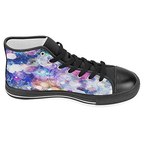 Interestprint Kvinnor Tygskor Höga Sneakers Platta Skor Snör Åt Upp Gymnastikskor Mode Mönster Abstract Färg Galax Svart