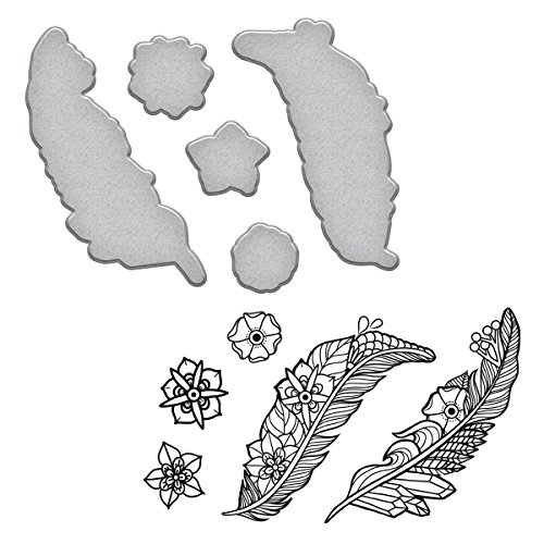 (Spellbinders Feathers Cool Vibes Stamp and Die Set)