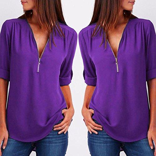 Para SANFASHION Morado SANFASHION Multicolor de Bekleidung Damen Mujer Poliéster Multicolor Shirt145 Bailarinas p60q1pw