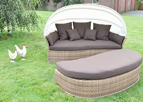 Rattan lounge muschel  Amazon.de: VENUS LOUNGE Sonneninsel Sofa Gartenmöbel Liegeinsel ...
