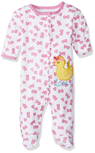 BON BEBE Baby Girls' 1 Pc Footed Coverall with Fold Back ...
