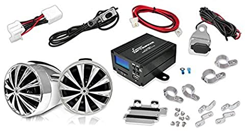 Lanzar OPTIMC80 700 Watts Motorcycle/ATV 4 Channel Amplifier with Handlebar Mount Speakers, FM/MP3/iPod/USB/SD and USB Charger - Set of (1998 Saturn Sl2 Battery)