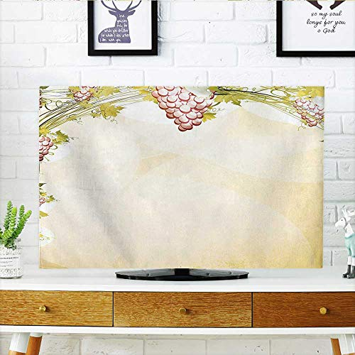 Auraisehome TV dust Cover Pattern in Dark Sepia Colors French Village Large Branches Region Green TV dust Cover W19 x H30 INCH/TV -