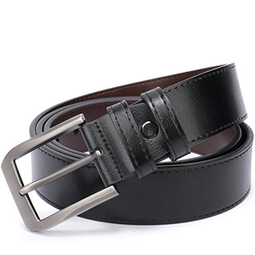 Men's genuine leather Reversible Dress Belt with Nickle Free Buckle in Gift Box (Black/Brown, 34-36) - Free Nickle