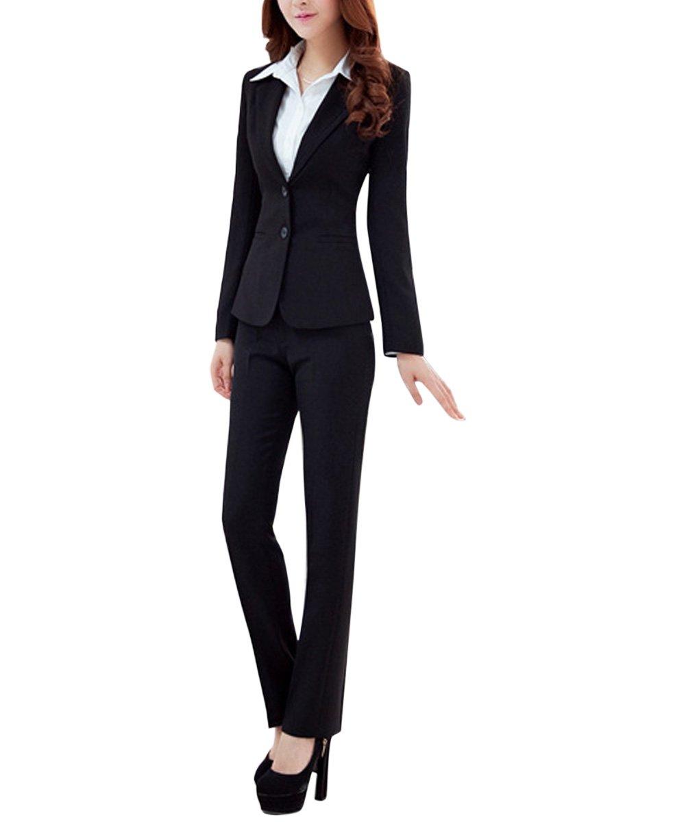 YUNCLOS ツーピース スリムフィット ビジネス ブレザージャケット オフィス レディーススーツセット B07235Q9MZ L (US 12) Black_blazer and Pants T02 Black_blazer and Pants T02 L (US 12)
