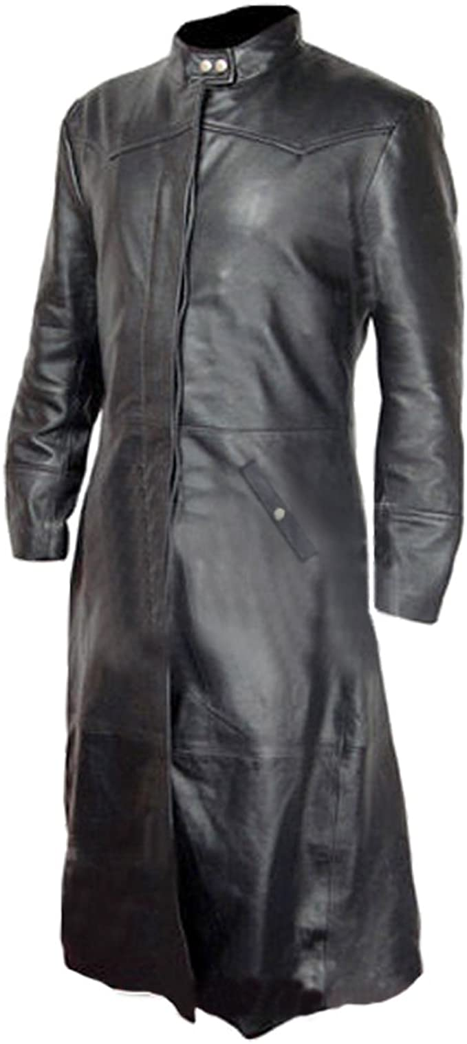 Mens Trench Coat Real Black Leather Matrix Goth Gothic