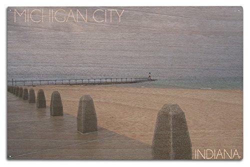 Michigan City, Indiana - Lighthouse 2 (10x15 Wood Wall Sign, Wall Decor Ready to - Michigan City Lighthouse
