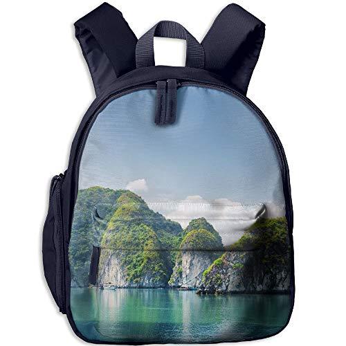 Kid's School Bag Beautiful Azure Water Of Lagoon In The Halong Bay Descending Dragon Bay At Shoulder Bag Navy